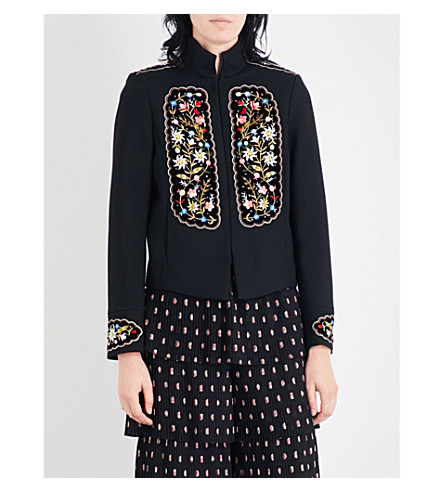 VILSHENKO Misha floral-embroidered twill jacket (Black/multi