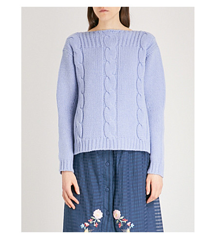 VILSHENKO Molly wool and cashmere-blend jumper (Blue/multi