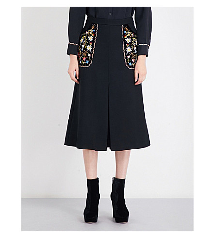 VILSHENKO Arisha floral-embroidered high-rise twill skirt (Black/multi