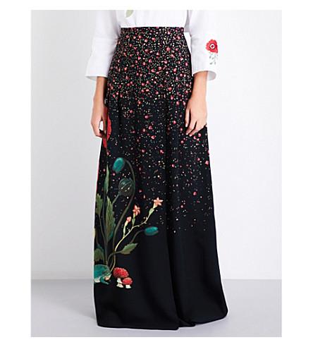 VILSHENKO Carmen floral-print silk maxi skirt (Black/multi