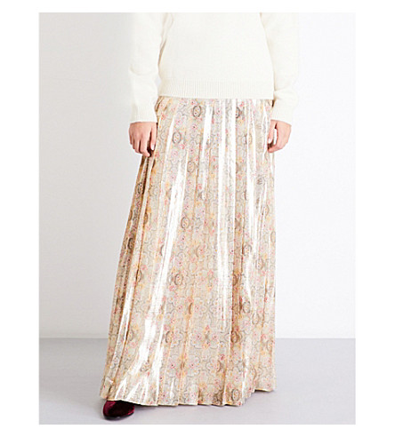 VILSHENKO Cornelia floral-print pleated silk-blend maxi skirt (Gold/multi