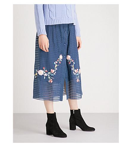 VILSHENKO Gaby cotton midi skirt (Navy/mutli