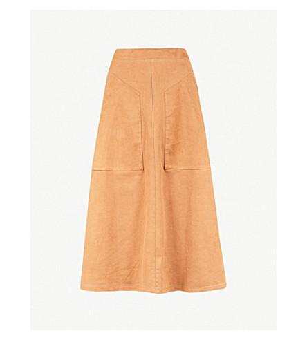 VILSHENKO Carrie high-rise faux-suede midi skirt (Tan
