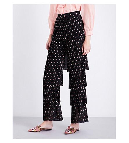 VILSHENKO Blyeta floral tiered silk-georgette trousers (Black/multi
