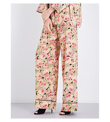 VILSHENKO Ilya floral-print silk trousers (Nude/multi