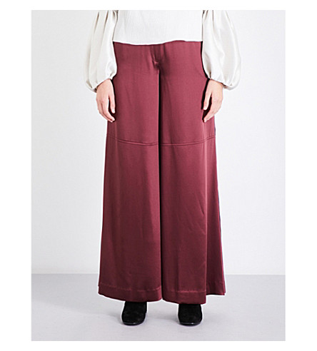 HELLESSY Daley wide-leg silk-satin trousers (Maroon
