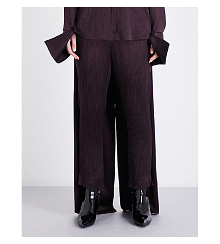 HELLESSY Palmetto tapered-leg mid-rise satin-crepe trousers (Aubergine