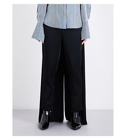 HELLESSY Palmetto tapered-leg mid-rise satin-crepe trousers (Black