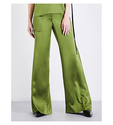 HELLESSY Patton wide-flare silk-charmeuse trousers (Avocado