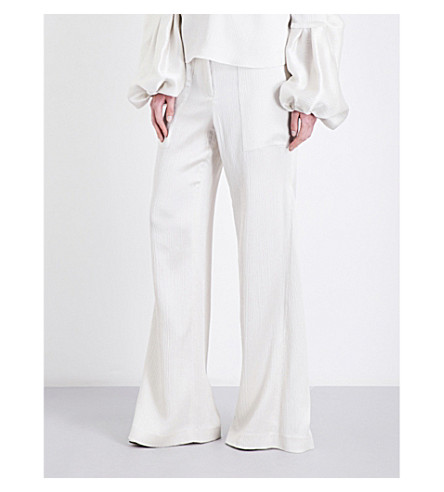 HELLESSY Patton wide-flare silk-chenille trousers (Pearl