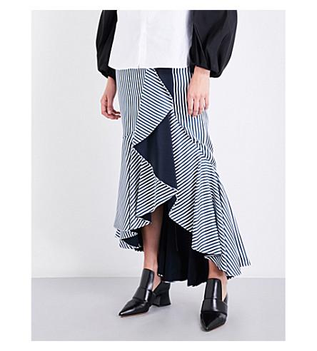 HELLESSY Daffodil ruffled silk-twill midi skirt (Midnight+white
