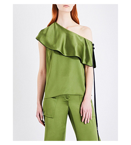HELLESSY Mercer silk-charmeuse top (Avocado