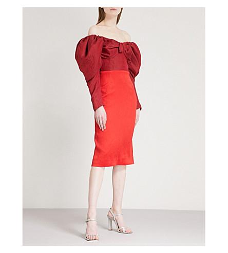HELLESSY Thelma off-the-shoulder linen and silk-blend dress (Merlot