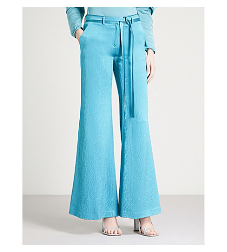 HELLESSY Laurent flared wide-leg silk-satin trousers (Turquoise