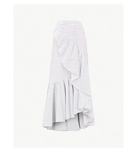 HELLESSY Canyon ruffled cotton skirt (White/black+grid