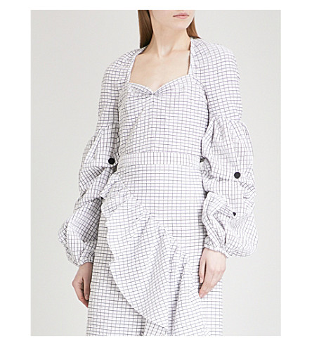 HELLESSY Louise puffed sleeve cotton shirt (White/black+grid
