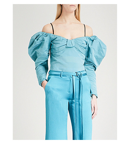 HELLESSY Lauren puffed-sleeve cotton-blend top (Aqua