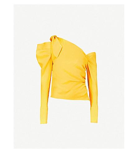 HELLESSY Phacelia one-shoulder silk and linen-blend top (Marigold