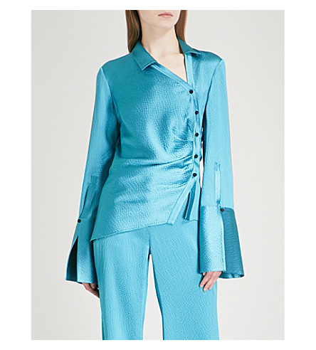 HELLESSY Wyatt asymmetric cotton shirt (Turquoise