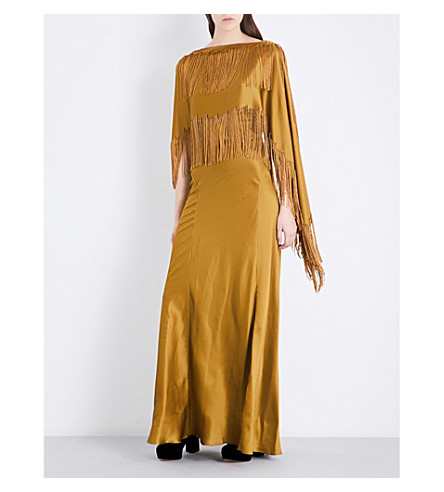 GABRIELA HEARST Marlene fringed silk-satin gown (Gold