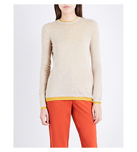 GABRIELA HEARST Wells cashmere and silk-blend jumper (Oatmeal/yellow
