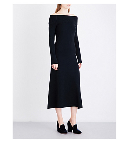 GABRIELA HEARST Judy off-the-shoulder wool and cashmere-blend dress (Black