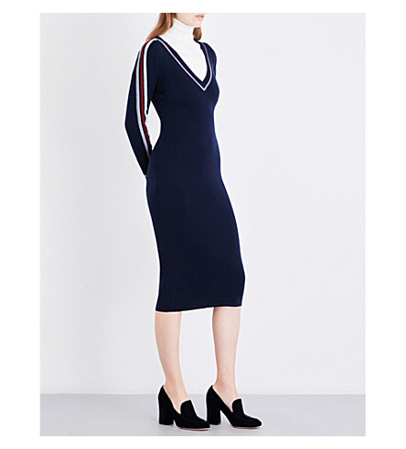 GABRIELA HEARST Grace fitted wool and cashmere-blend dress (Navy