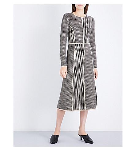 GABRIELA HEARST Joslyn herringbone wool and cashmere-blend dress (Camel/black