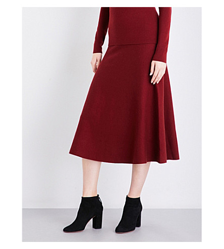 GABRIELA HEARST Freddie high-rise wool-blend skirt (Burgundy