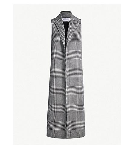 GABRIELA HEARST Antonio checked sleeveless stretch-cashmere coat (Black white