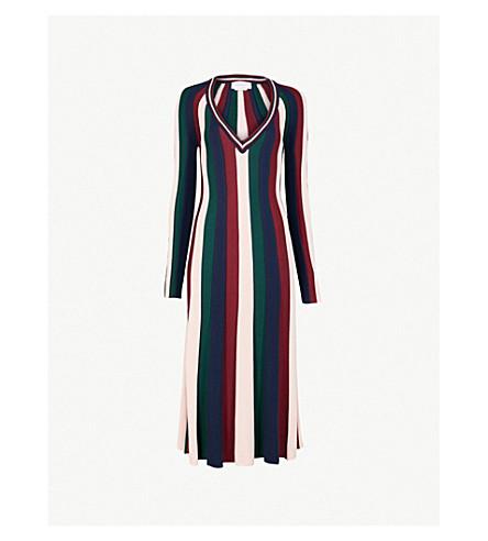 GABRIELA HEARST Almeida striped wool midi dress (Green/blush/burg/navy