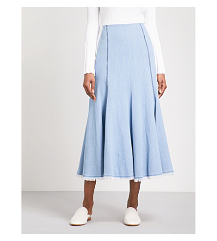 GABRIELA HEARST Amy high-rise stretch-denim midi skirt (Light+blue+wash
