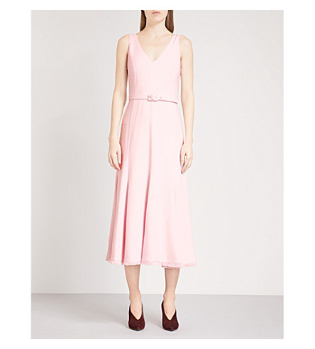 GABRIELA HEARST Bridget fit-and-flare woven midi dress (Pale+pink