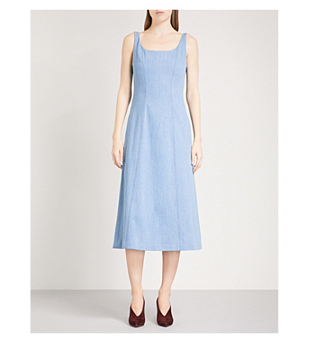 GABRIELA HEARST Georgia self-tie stretch-denim midi dress (Light+blue+wash