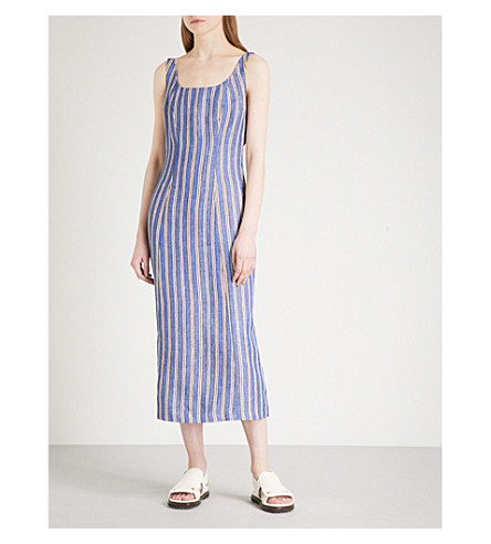 GABRIELA HEARST Georgia striped linen midi dress (Striped+linen+denim