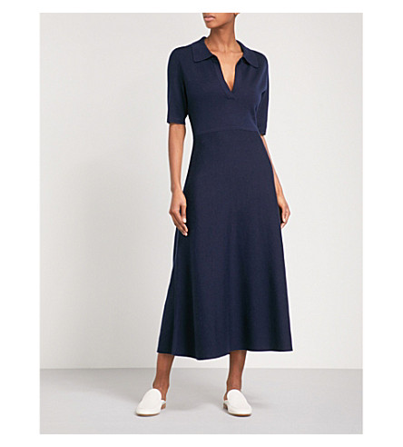 GABRIELA HEARST Bourgois fit-and-flare wool and cashmere-blend midi dress (Navy