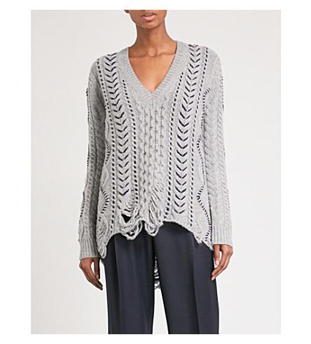 GABRIELA HEARST Dorian V-neck wool and cashmere-blend jumper (Heather+grey/navy