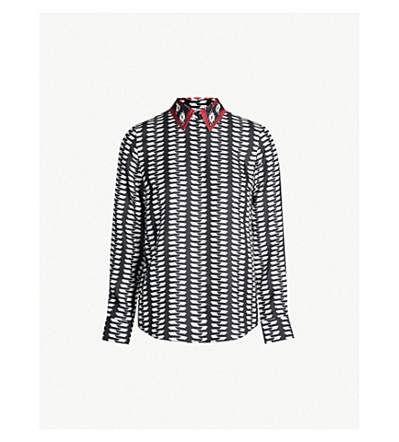 GABRIELA HEARST Henri geometric-print silk-twill shirt (Black white red