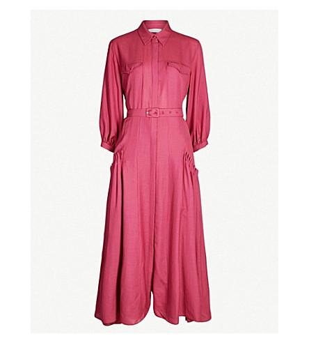 GABRIELA HEARST Woodward belted linen midi dress (Plum