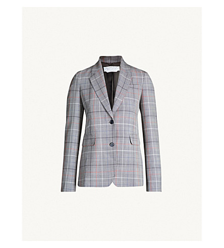 GABRIELA HEARST Sophie single-breasted wool jacket (Red check