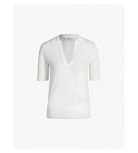 GABRIELA HEARST Frank V-neck cashmere and silk-blend polo top (Ivory