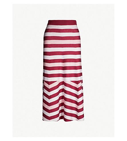 GABRIELA HEARST Posada striped wool and cashmere-blend skirt (Blush burgundy