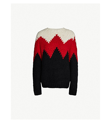 GABRIELA HEARST Guillermo colour-block zig-zag pattern cashmere jumper (Black red ivory