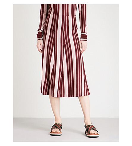 GABRIELA HEARST Cooper striped cashmere and silk-blend skirt (Burgundy+stripe