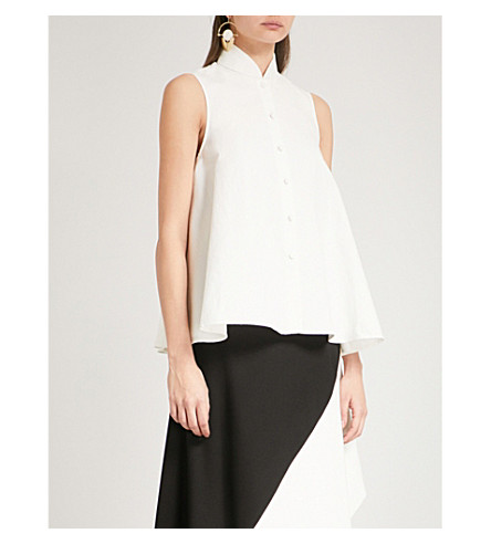 CO Flared sleeveless linen and cotton-blend top (Ivory