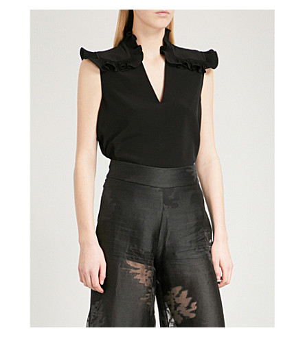 CO Frilled-detail crepe blouse (Black