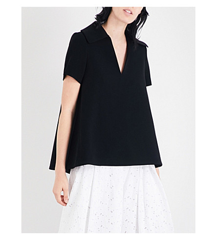 CO Collared crepe top (Black