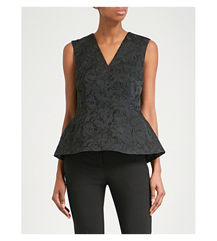 CO Floral-embroidered woven top (Black
