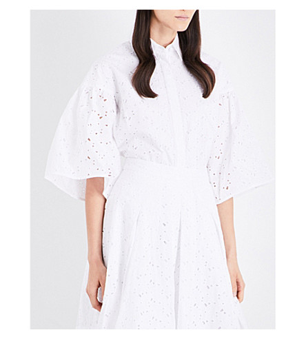 CO Broderie anglaise bell sleeve cotton blouse (White