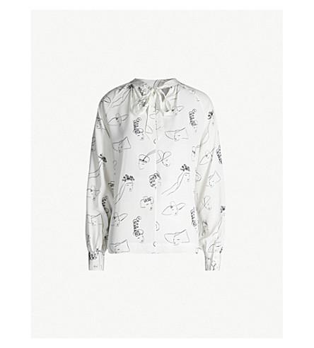 CO Face-print blouson-sleeve silk-satin top (Ivory